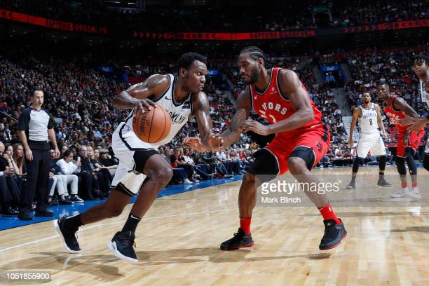 Treveon Graham of the Brooklyn Nets handles the ball against the Toronto Raptors during a preseason game on October 10 2018 at Bell Centre in...