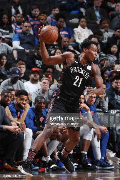 Treveon Graham of the Brooklyn Nets handles the ball against the New York Knicks on January 25 2019 at Barclays Center in Brooklyn New York NOTE TO...