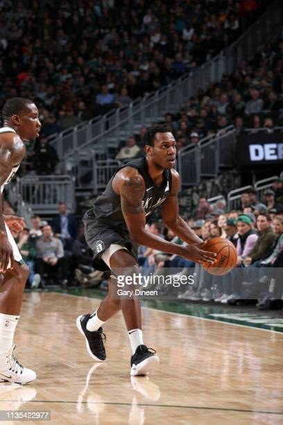 Treveon Graham of the Brooklyn Nets handles the ball against the Milwaukee Bucks on April 6 2019 at the Fiserv Forum Center in Milwaukee Wisconsin...