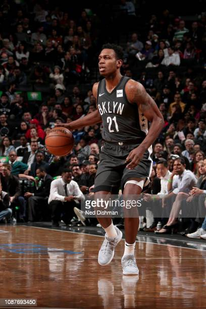Treveon Graham of the Brooklyn Nets handles the ball during the game against the Orlando Magic on January 23 2019 at Barclays Center in Brooklyn New...