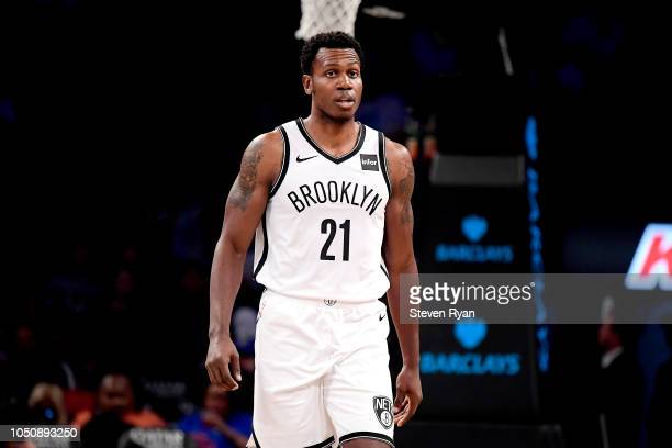 Treveon Graham of the Brooklyn Nets in action against the New York Knicks during a preseason game at Barclays Center on October 3 2018 in New York...