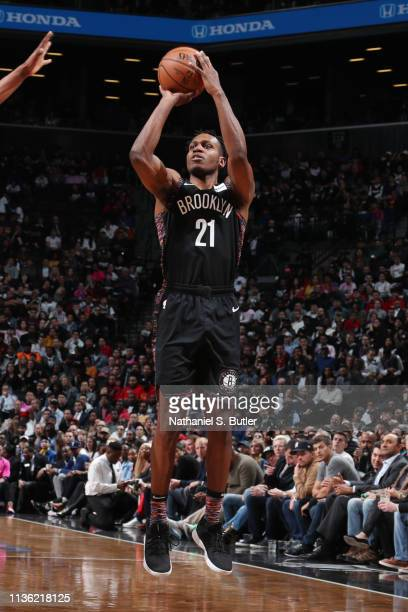 Treveon Graham of the Brooklyn Nets shoots the ball against the Miami Heat on April 10 2019 at Barclays Center in Brooklyn New York NOTE TO USER User...