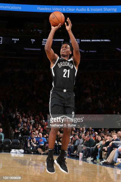 Treveon Graham of the Brooklyn Nets shoots the ball against the New York Knicks on October 12 2018 at Madison Square Garden in New York City New York...