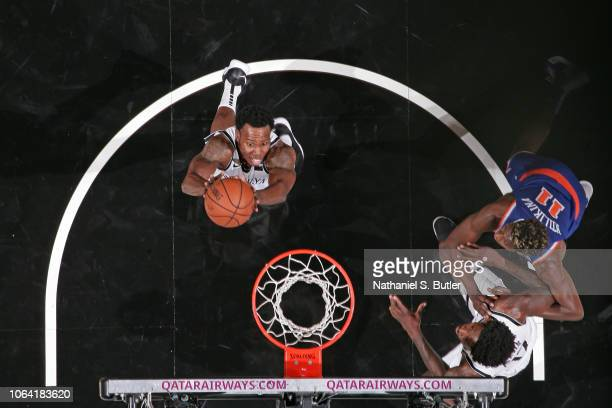 Treveon Graham of the Brooklyn Nets shoots the ball against the New York Knicks during a preseason game on October 3 2018 at Barclays Center in...