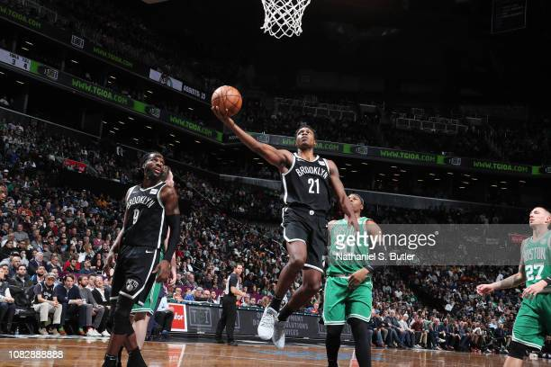 Treveon Graham of the Brooklyn Nets shoots the ball against the Boston Celtics on January 14 2019 at Barclays Center in Brooklyn New York NOTE TO...