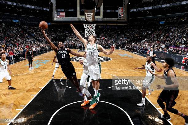 Treveon Graham of the Brooklyn Nets shoots the ball against the Milwaukee Bucks on February 4 2019 at Barclays Center in Brooklyn New York NOTE TO...
