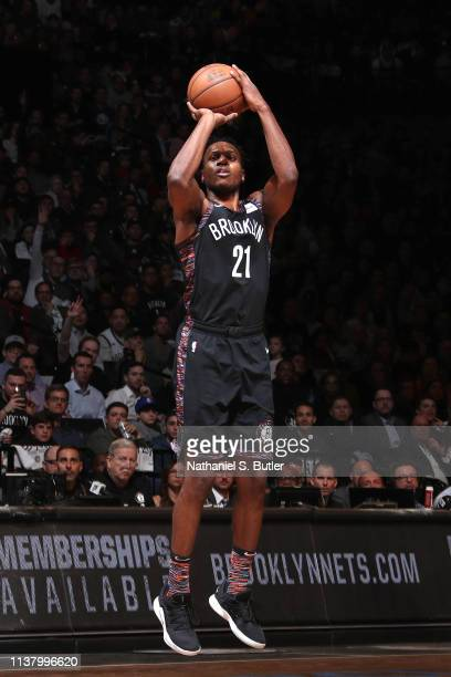 Treveon Graham of the Brooklyn Nets shoots the ball against the Philadelphia 76ers during Game Three of Round One of the 2019 NBA Playoffs on April...