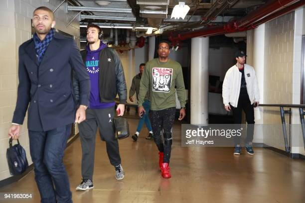 Treveon Graham of the Charlotte Hornets arrives to the arena prior to the game against the Chicago Bulls on April 3 2018 at the United Center in...