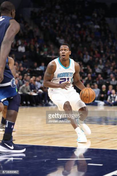 Treveon Graham of the Charlotte Hornets handles the ball against the Minnesota Timberwolves on November 5 2017 at Target Center in Minneapolis...
