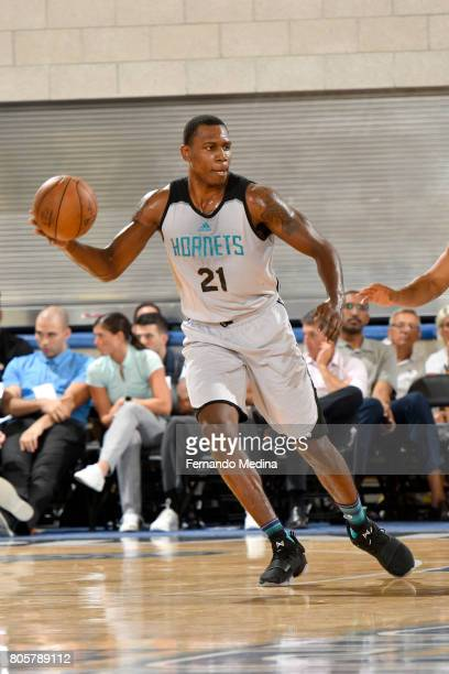 Treveon Graham of the Charlotte Hornets passes the ball against the Indiana Pacers during the 2017 Summer League on July 2 2017 at Amway Center in...