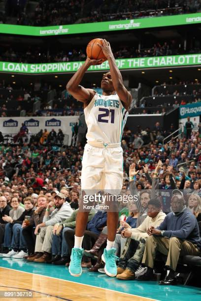 Treveon Graham of the Charlotte Hornets shoots the ball during the game against the Boston Celtics on December 27 2017 at Spectrum Center in...