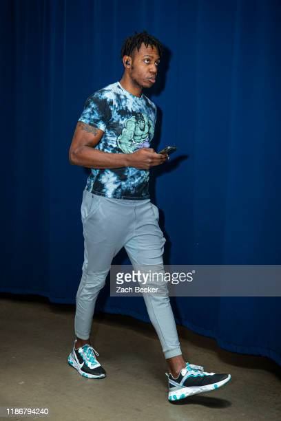 Treveon Graham of the Minnesota Timberwolves arrives to the game against the Oklahoma City Thunder on December 6 2019 at Chesapeake Energy Arena in...