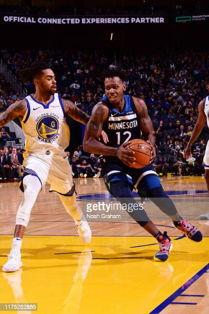 Treveon Graham of the Minnesota Timberwolves drives to the basket against the Golden State Warriors during a preseason game on October 10 2019 at...