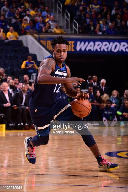 Treveon Graham of the Minnesota Timberwolves handles the ball against the Golden State Warriors during a preseason game on October 10 2019 at Chase...
