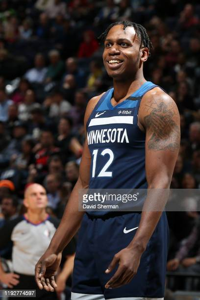 Treveon Graham of the Minnesota Timberwolves smiles during the game against the Portland Trail Blazers on January 9 2020 at Target Center in...