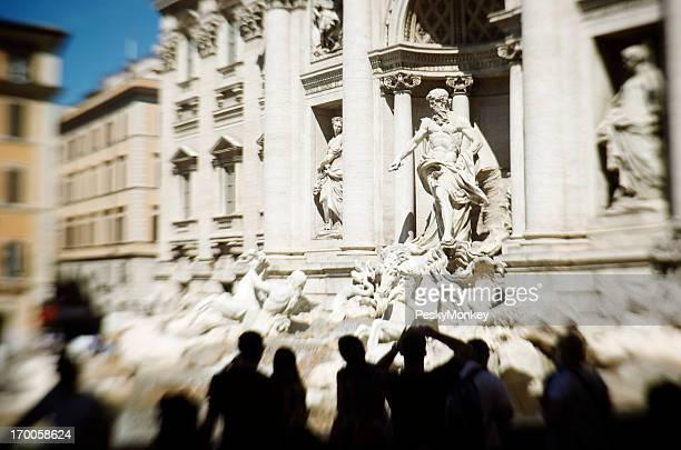 Trevi Fountain Rome Selective Focus Tourist Silhouettes