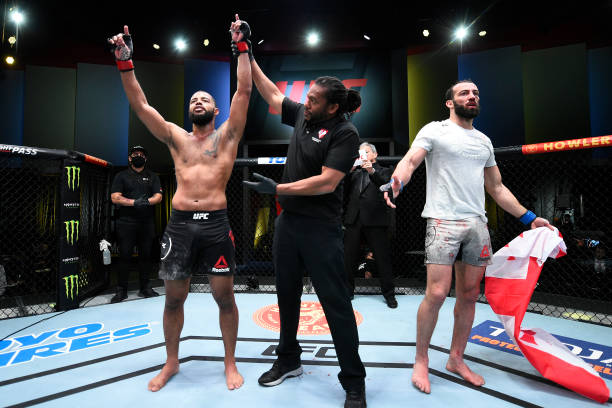 Trevin Giles reacts after his decision victory over Roman Dolidze of Georgia in their middleweight fight during the UFC Fight Night event at UFC APEX...