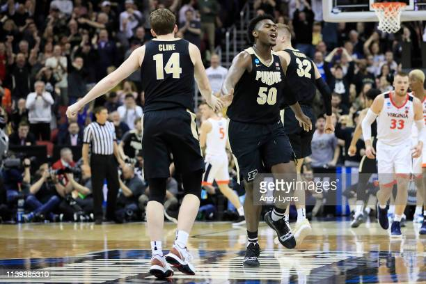 Trevion Williams of the Purdue Boilermakers celebrates after a basket against the Virginia Cavaliers during the second half of the 2019 NCAA Men's...