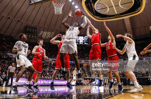 Trevion Williams of the Purdue Boilermakers grabs a rebound during the game against the Belmont Bruins at Mackey Arena on December 29, 2018 in West...