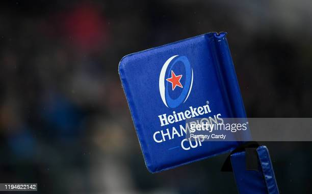 Treviso Italy 18 January 2020 A general view of a corner flag during the Heineken Champions Cup Pool 1 Round 6 match between Benetton and Leinster at...