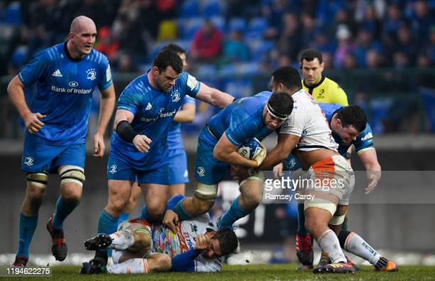 Treviso Italy 18 January 2020 Caelan Doris of Leinster is tackled by Toa Halafihi of Benetton during the Heineken Champions Cup Pool 1 Round 6 match...