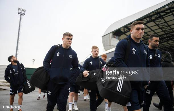 Treviso Italy 18 January 2020 Garry Ringrose left and Jordan Larmour of Leinster arrive ahead of the Heineken Champions Cup Pool 1 Round 6 match...