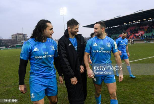 Treviso Italy 18 January 2020 James Lowe left Ross Byrne and Dave Kearney right of Leinster following the Heineken Champions Cup Pool 1 Round 6 match...