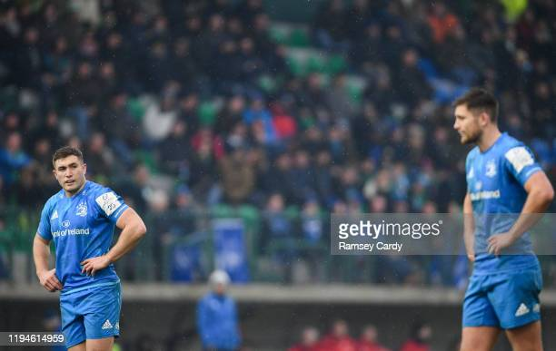 Treviso Italy 18 January 2020 Jordan Larmour left and Ross Byrne of Leinster during the Heineken Champions Cup Pool 1 Round 6 match between Benetton...