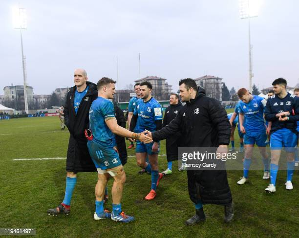 Treviso Italy 18 January 2020 Josh van der Flier left and Cian Healy of Leinster following the Heineken Champions Cup Pool 1 Round 6 match between...