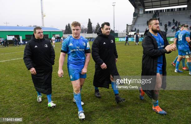 Treviso Italy 18 January 2020 Leinster players from left Seán Cronin James Tracy Cian Healy and Andrew Porter following the Heineken Champions Cup...