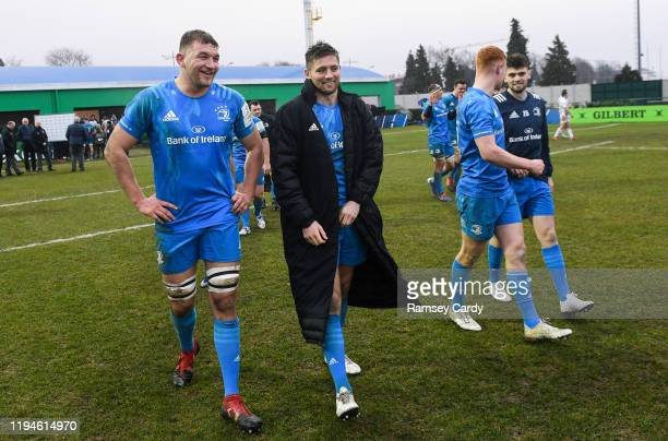 Treviso Italy 18 January 2020 Ross Molony left and Ross Byrne of Leinster following the Heineken Champions Cup Pool 1 Round 6 match between Benetton...