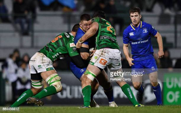 Treviso Italy 2 December 2017 Andrew Porter of Leinster is tackled by Whetu Douglas left and Sebastian Negri of Benetton during the Guinness PRO14...