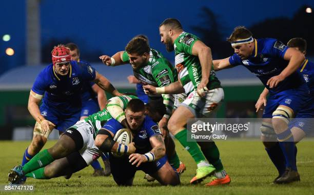 Treviso Italy 2 December 2017 Andrew Porter of Leinster is tackled by Tiziano Pasquali of Benetton during the Guinness PRO14 Round 10 match between...