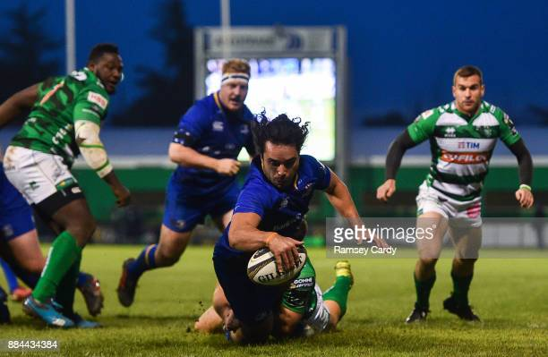 Treviso Italy 2 December 2017 James Lowe of Leinster dives over to score his side's first try during the Guinness PRO14 Round 10 match between...