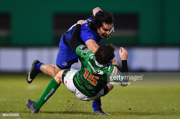 Treviso Italy 2 December 2017 James Lowe of Leinster is tackled by Marty Banks of Benetton during the Guinness PRO14 Round 10 match between Benetton...