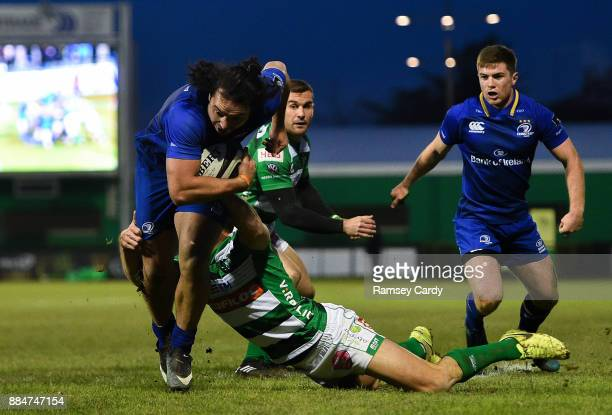 Treviso Italy 2 December 2017 James Lowe of Leinster is tackled by Tommaso Benvenuti of Benetton during the Guinness PRO14 Round 10 match between...