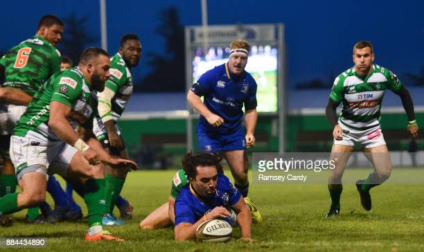 Treviso Italy 2 December 2017 James Lowe of Leinster scores his side's first try during the Guinness PRO14 Round 10 match between Benetton and...