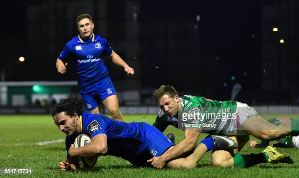 Treviso Italy 2 December 2017 James Lowe of Leinster scores his side's fifth try during the Guinness PRO14 Round 10 match between Benetton and...