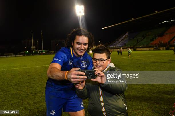 Treviso Italy 2 December 2017 James Lowe of Leinster with a supporter following the Guinness PRO14 Round 10 match between Benetton and Leinster at...