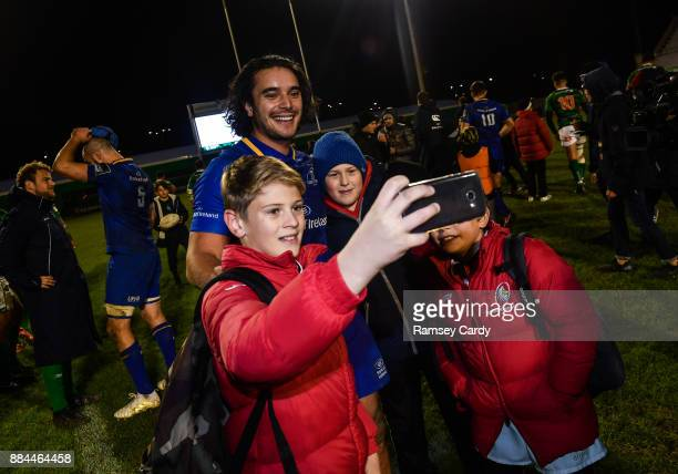 Treviso Italy 2 December 2017 James Lowe of Leinster with supporters following the Guinness PRO14 Round 10 match between Benetton and Leinster at the...