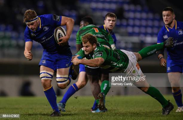Treviso Italy 2 December 2017 Jordi Murphy of Leinster is tackled by Tomas Baravalle of Benetton on his way to scoring his side's second try during...