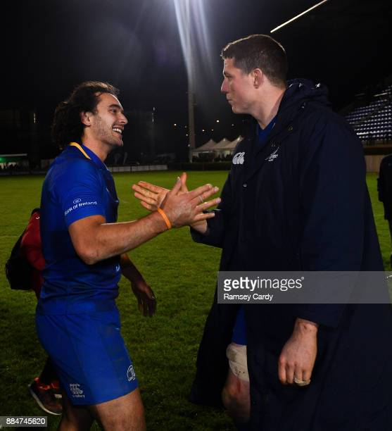 Treviso Italy 2 December 2017 Leinster's James Lowe left and Ian Nagle following the Guinness PRO14 Round 10 match between Benetton and Leinster at...