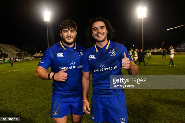 Treviso Italy 2 December 2017 Vakh Abdaladze left and James Lowe following their Leinster debut in the Guinness PRO14 Round 10 match between Benetton...