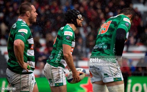 Treviso's flyhalf Ian McKinley gets ready to kick the ball during the Champions Cup rugby union match RC Toulon vs Treviso on January 14 2018 at the...