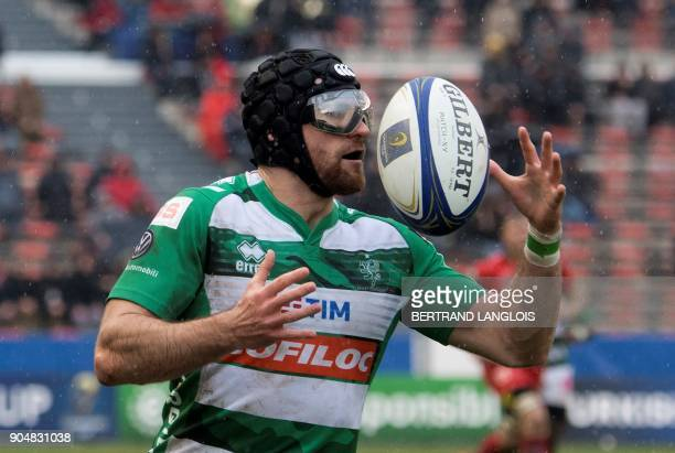 Treviso's flyhalf Ian McKinley grabs the ball during the Champions Cup rugby union match RC Toulon vs Treviso on January 14 2018 at the Mayol stadium...