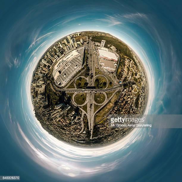 trevo do belvedere tiny planet - as américas - fotografias e filmes do acervo