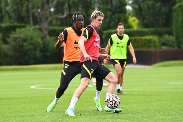 Trevoh Chalobah and Conor Gallagher of Chelsea during a training session at Chelsea Training Ground on July 12, 2021 in Cobham, England.