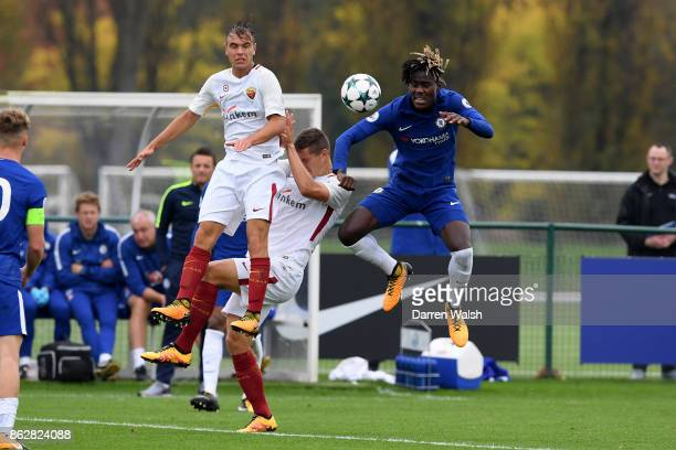 Trevoh Chalobah of Chelsea and Alessio Richard and Zan Celar of AS Roma during the UEFA Youth League group C match between Chelsea FC U19 and AS Roma...