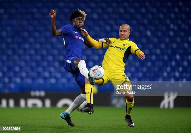 Trevoh Chalobah of Chelsea and Gino Van Kessell of Oxford United during the Checkatrade Trophy quarter final match between Chelsea U21 and Oxford...