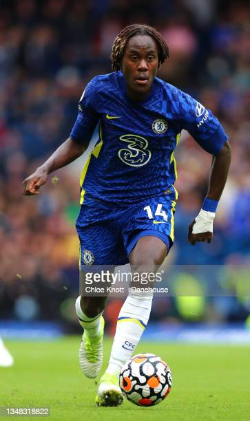 Trevoh Chalobah of Chelsea FC controls the ball during the Premier League match between Chelsea and Norwich City at Stamford Bridge on October 23,...